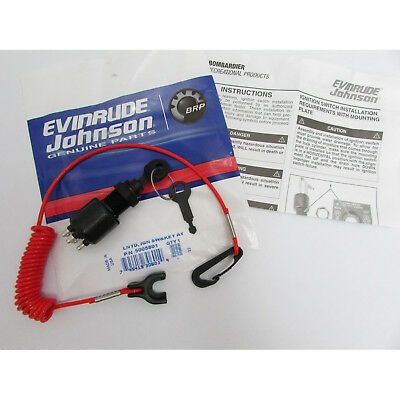 Johnson/Evinrude/OMC New OEM Ignition Key Switch & Lanyard 5005801, 175974