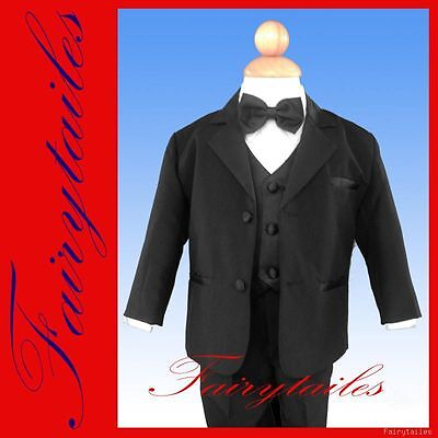 Infant Baby Toddler Boys Kids Usher Black Tuxedo Set