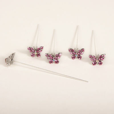Faux diamond diamante Butterfly pins x 5 Pink
