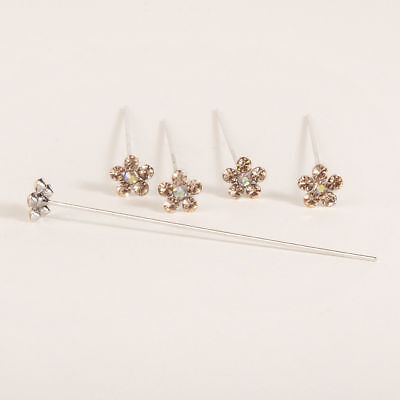 Faux diamond diamante flower pins x 5 Coral