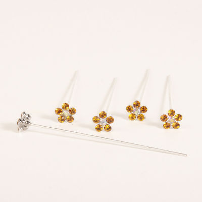 Faux diamond diamante flower pins x 5 Gold