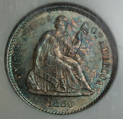 1860-O Silver Half Dime Coin, NGC MS-66, Toned