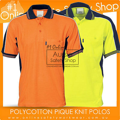 Hi-Vis Polo Shirt Contrast Panel Poly Cotton Work-Wear