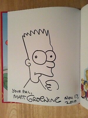 Simpsons World Matt Groening SIGNED and SKETCHED BART