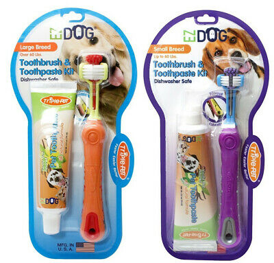 Triple Pet EZ Dog Toothbrush / Toothpaste Dental Kit Remove Plaque & Tartar
