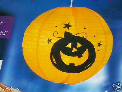 Halloween Prop Hanging Lighted lamp pendant Light Pumpkin paper lantern & cord
