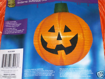 Halloween Prop Hanging paper Lighted Light Jack O Lantern pumpkin NEW plug in