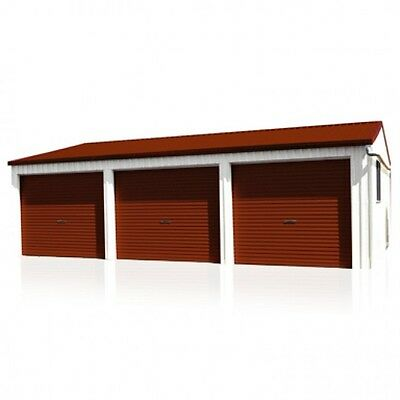 Smartbild Triple Garage 3 Roller Doors 6m x 9m Zinc Garages 20 Year Warranty