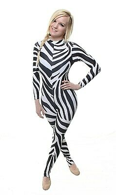 Catsuit Long Sleeves Polo Full Back Zebra Print Lycra - (ELSA)