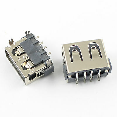 10Pcs USB 2.0 Type A Female 4 Pin SMT SMD PCB Socket Connector 4 Legs
