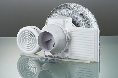 """IN LINE BATHROOM EXTRACTOR FAN LOFT MOUNTED 4"""" with TIMER"""