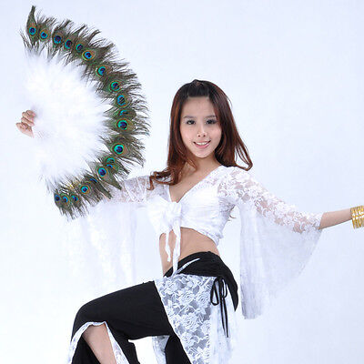 New Belly Dance Peacock Feather Fan 10 colours White