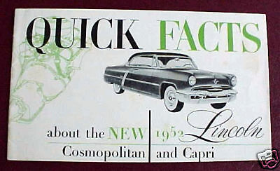 1952 LINCOLN FACTS 12 PAGE BROCHURE VERY GOOD ORIGINAL