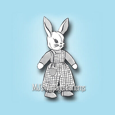 Stuffed Easter Bunny in Overalls ~ a Vintage Pattern