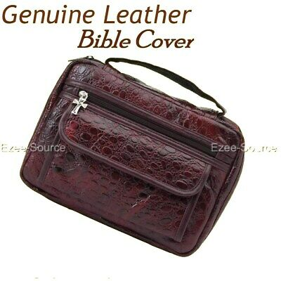 Burgundy Leather Bible Book Cover Purse Tote Case Bag