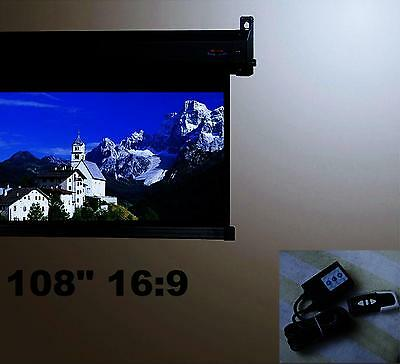 "108"" 16:9 Remote Control Motorized Electric Projection Projector  Screen"