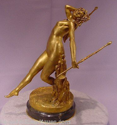 Antique Gilt Bronze Dancing Nude Signed E. Neuhauser