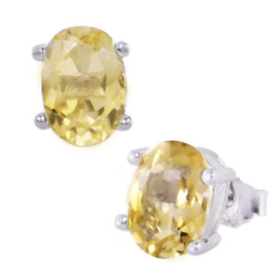 1.7ct Oval Yellow Citrine Sterling Silver Stud Earrings