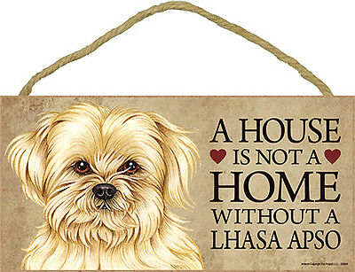 Lhasa Apso Wood Dog Sign Wall Plaque 5 x 10