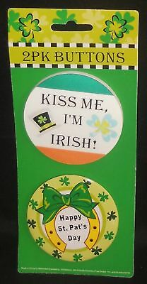 St.Patrick's Day Buttons  Kiss Me&Happy St Patricks Day