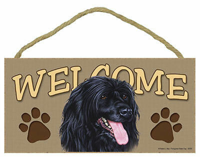 Portuguese Water Dog Wood Welcome Sign Plaque 5 x 10