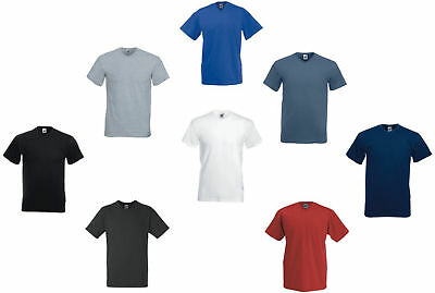 Fruit Of The Loom V-Neck T-Shirt Plain Valueweight New