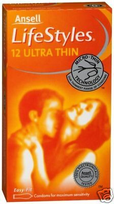 Ansell Lifestyles Ultra Thin Condoms (12 Condoms) Loose
