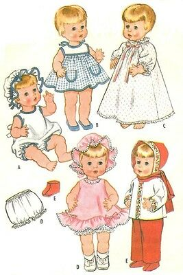 "Old 15-17"" Chatty Baby Doll Clothes Pattern 6513"
