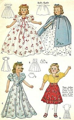 "Vintage 18"" Little Lady Doll Clothes Pattern 918"