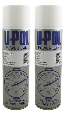 U-pol Power Can Aerosol CLEARCOAT Paint LACQUER 500ml x 2 Upol Powercan PCLC