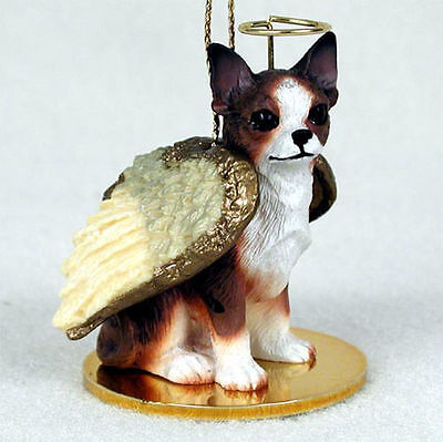 Chihuahua Ornament Angel Figurine Hand Painted Brindle