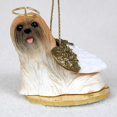 Lhasa Apso Ornament Angel Figurine Hand Painted Brown