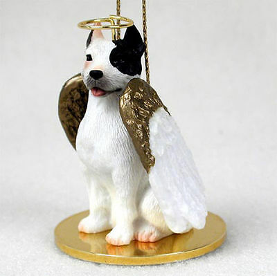 Pit Bull Terrier Dog Figurine Angel Statue Hand Painted White