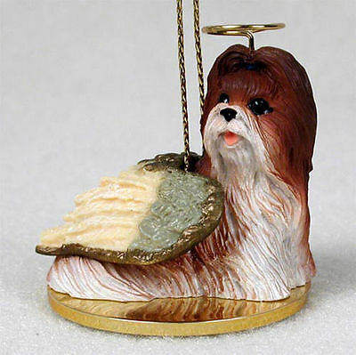 Shih Tzu Ornament Angel Figurine Hand Painted Tan