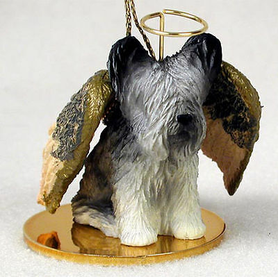 Skye Terrier Dog Figurine Angel Statue Hand Painted