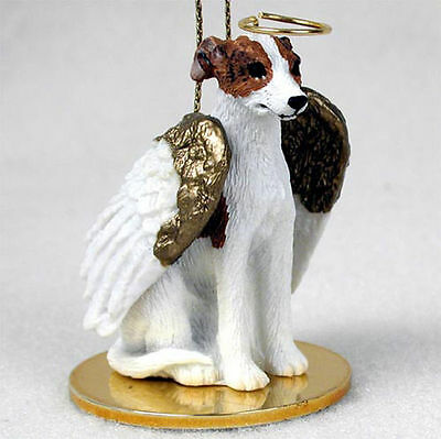 Whippet Dog Figurine Angel Statue Hand Painted Brindle & White