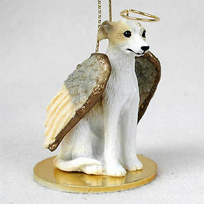 Whippet Dog Figurine Angel Statue Hand Painted Tan & White