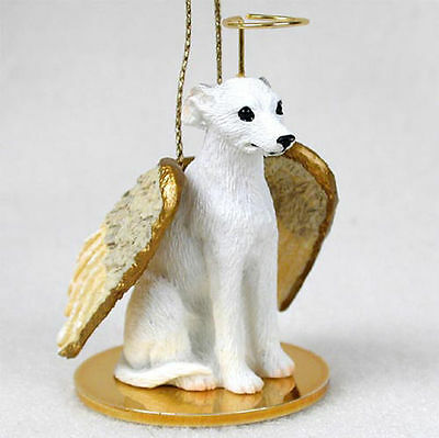 Whippet Dog Figurine Angel Statue Hand Painted White