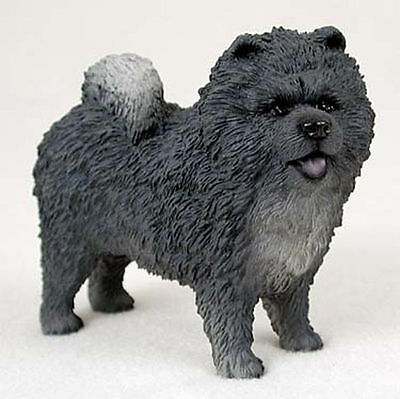 Chow Chow Hand Painted Dog Figurine Statue Blue