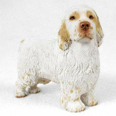 Clumber Spaniel Hand Painted Dog Figurine Statue