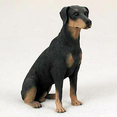 Doberman Pinscher Figurine Hand Painted Statue Black Uncropped