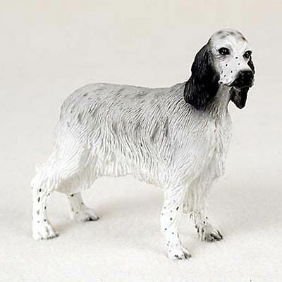 English Setter Hand Painted Dog Figurine Statue Blue