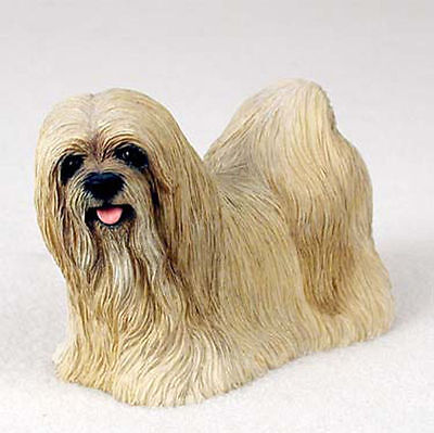 Lhasa Apso Figurine Hand Painted Statue Blonde