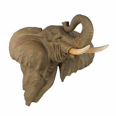 Elephant Head Bust Wall Mount LARGE Home Decor Collection Statue Animal Figurine
