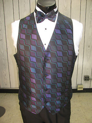 Mens Formal Vest Multi Colored Size M Matching Bow Tie