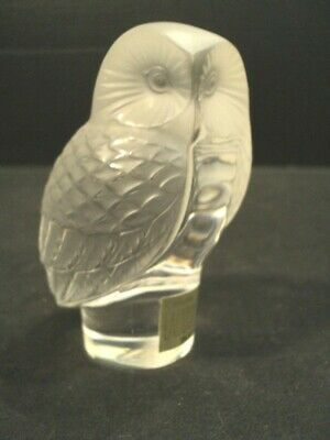 """Lalique Clear & Frosted Crystal Owl """"Chouette"""" Paperweight"""