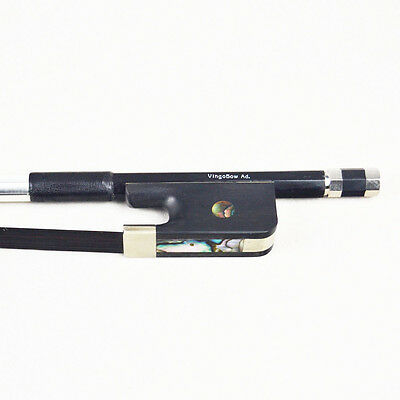 French Carbon Fiber Double Bass Bow Natural Black Mongolia Horsehair.
