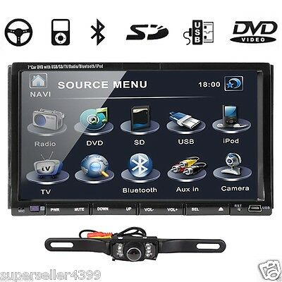 "7""LCD MOTORIZED DOUBLE 2 DIN CAR DVD STEREO+REAR CAMERA"