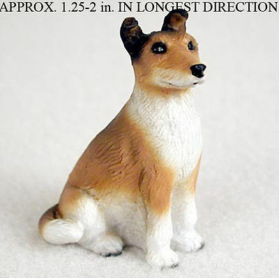 Collie Mini Resin Dog Figurine Statue Hand Painted Sable Smooth