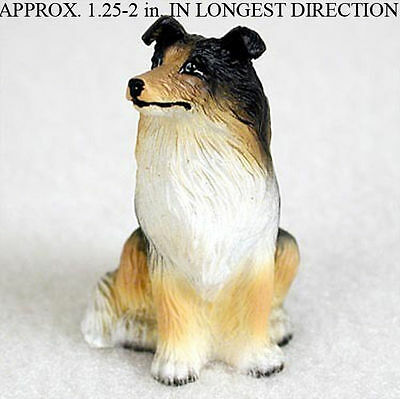 Collie Mini Resin Dog Figurine Statue Hand Painted Tri Color